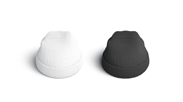 Ensemble de bonnet blanc et blanc vierge, isolé, rendu 3d.