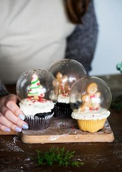 Ensemble de boules de neige de gâteau de noël