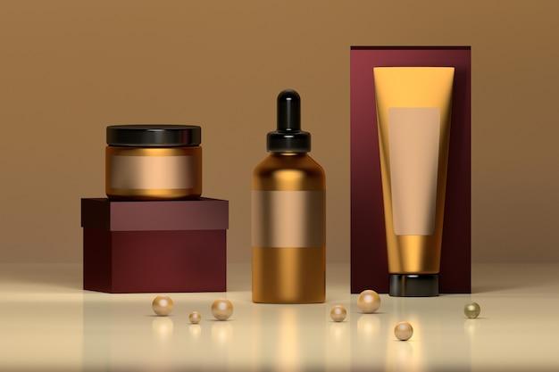 Ensemble de bouteilles cosmétiques en or luxueux avec des perles.