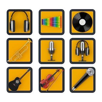 Ensemble de boutons d'icône web en ligne de musique et de son web de point de contact sur un fond blanc. rendu 3d