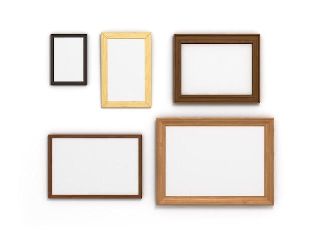 Ensemble de cadres colorés de différentes tailles sur fond blanc