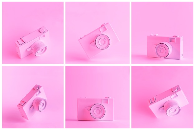 Ensemble de caméra peinte sur fond rose