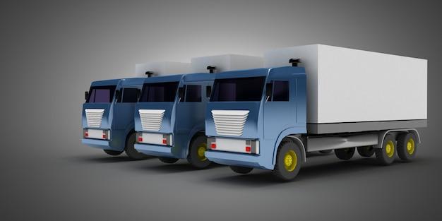 Ensemble de camions isolé sur gris
