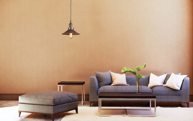 Ensemble canapé et table et plafonnier avec mur orange. rendu 3d