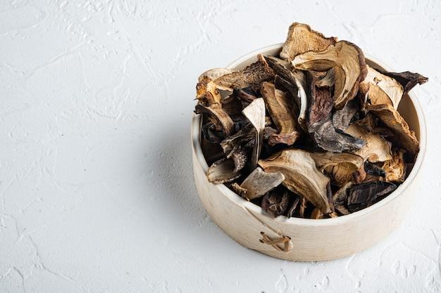 Ensemble de champignons séchés sauvages boletus, sur fond blanc, avec un espace pour copyspace de texte