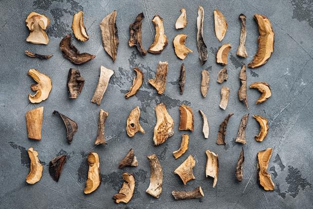 Ensemble de champignons séchés sauvages boletus, sur fond gris, vue de dessus à plat