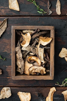 Ensemble de champignons séchés, sur le vieux fond de table en bois sombre, vue de dessus à plat