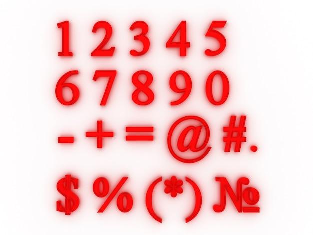 Ensemble de chiffres et de signes. rendu 3d