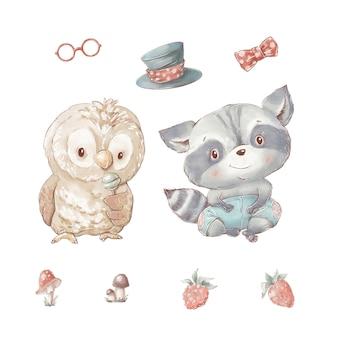 Ensemble de chouette dessin animé mignon et raton laveur. lunettes chapeau baies et champignons.