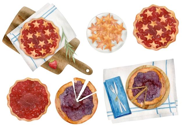 Ensemble de clipart aquarelle dessinés à la main d'éléments de pique-nique d'été isolés. nourriture, manger.