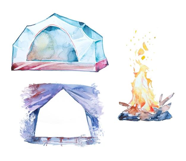 Ensemble de clipart lcamping aquarelle imprimé à la main.clipart de concept de camping.