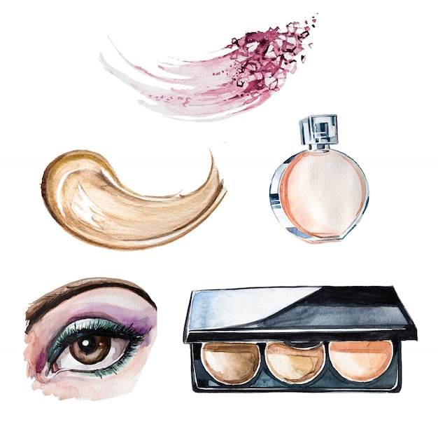 Ensemble de clipart maquillage aquarelle peinte à la main. conception d'entreprise de beauté. illustration de cosmétologie.
