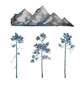 Ensemble de cliparts peints à la main de montagnes et d'arbres d'aquarelle isolé sur fond blanc