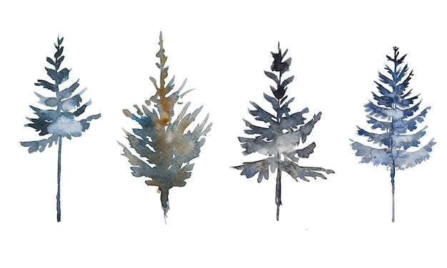 Ensemble de cliparts de sapins peints à la main à l'aquarelle isolé sur fond blanc