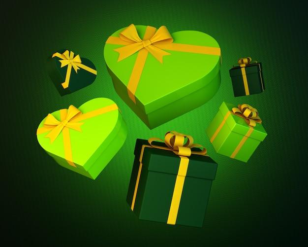Ensemble de coffrets cadeaux verts et coeurs avec ruban jaune sur vert rugueux. illustration 3d