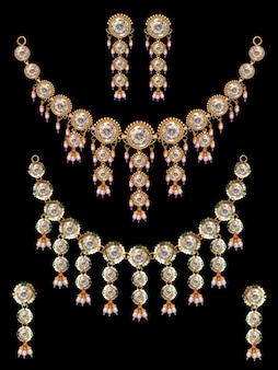 Ensemble collier indien en or antique