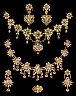 Ensemble collier de perles anciennes indiennes