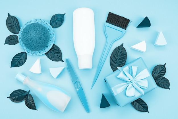 Ensemble de cosmétiques pour le corps, image tonique bleu