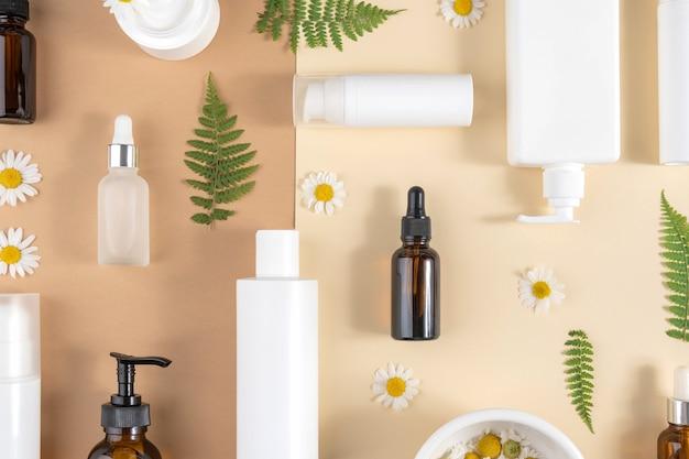 Ensemble de cosmétiques de soins. diverses bouteilles, tubes avec cosmétique, fleurs de camomille, feuilles de fougère
