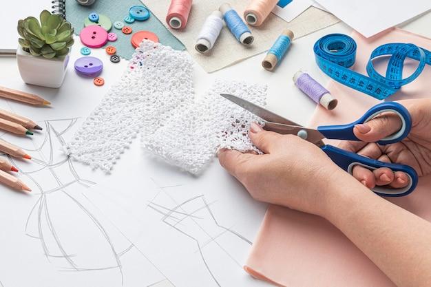 Ensemble de couture à angle élevé avec tissu et fil