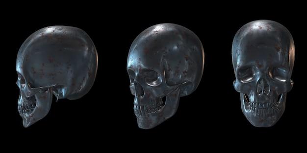 Ensemble de crâne en matériau métallique rendu 3d