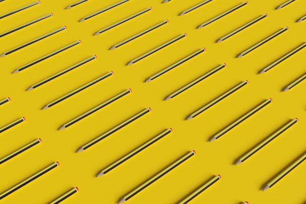 Ensemble de crayons graphite sur un jaune.