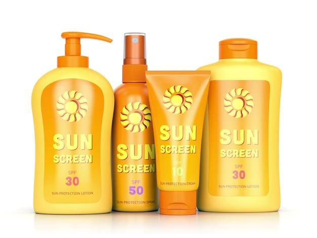 Ensemble de crème solaire : crème de protection solaire, lotion et spray dans des bouteilles et des tubes isolés sur fond blanc. concept de loisirs d'été et de bronzage. illustration 3d