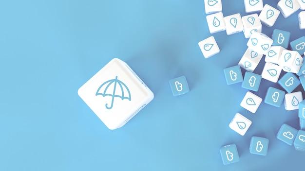 Ensemble de cubes avec l'image de phénomènes météorologiques dispersés sur une illustration 3d de surface