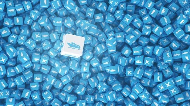 Ensemble de cubes avec des logos de véhicules dessinés sur eux