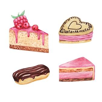 Ensemble de desserts aquarelle