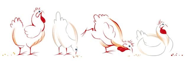 Ensemble dessiné à la main à l'aquarelle avec illustration de l'élément art poule poulet isolé sur fond blanc