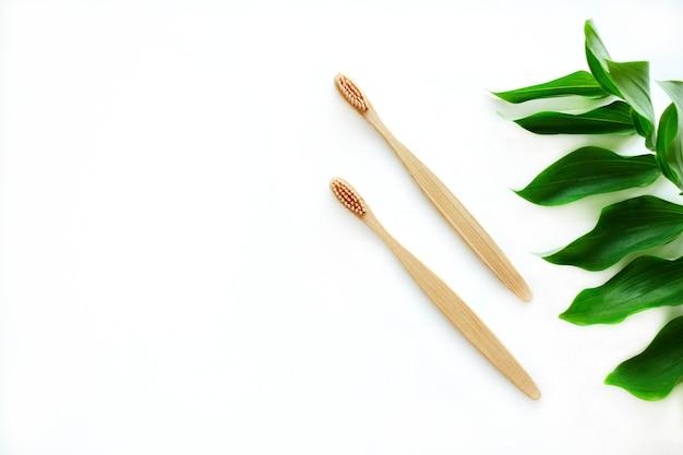 Un ensemble de deux brosses à dents en bambou en bois décorées d'une branche sur fond blanc. concept sans plastique. zero gaspillage. copiez l'espace.
