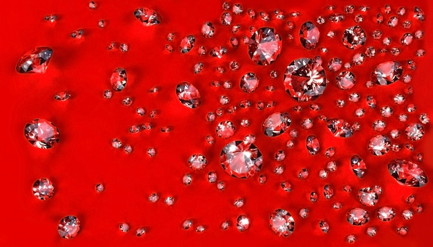 Ensemble de diamants dispersés sur la surface rouge. illustration 3d