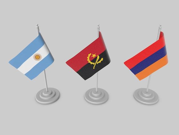 Ensemble de drapeaux - argentine, angola, arménie