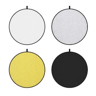 Ensemble d'écran de diffuseur de réflecteur de lumière de disque blanc, argent, or et noir photographique sur un fond blanc. rendu 3d