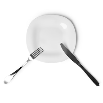 Un ensemble d'électroménagers en forme de table plaque, couteau, fourchette, isoler sur fond blanc