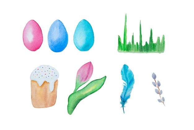 Ensemble d'éléments de pâques dessinés à la main aquarelle