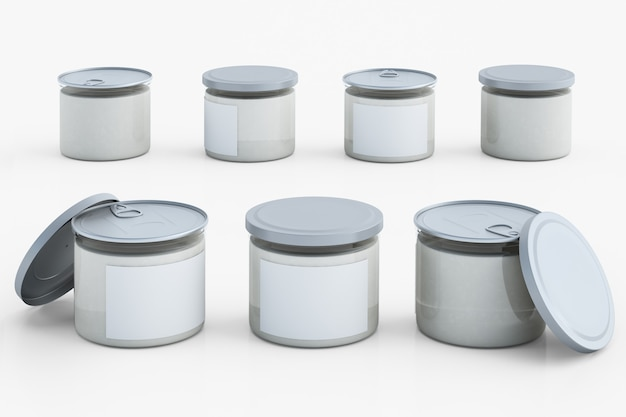 Ensemble d'emballage en plastique transparent avec capuchon en métal.