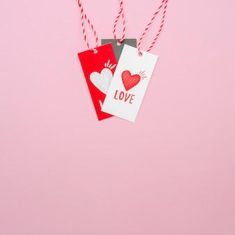 Ensemble d'étiquettes d'amour avec espace de copie