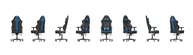 Ensemble de fauteuils de jeu d'ordinateur noir et bleu professionnel moderne avec différentes vues sur un fond blanc. rendu 3d