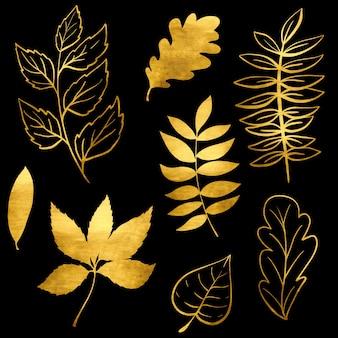 Ensemble de feuilles d'automne aquarelle or