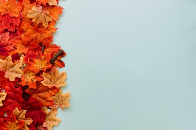 Ensemble de feuilles d'automne à la frontière