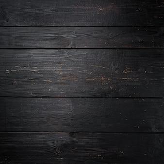 Ensemble de fond réel en bois vide, format carré, vue de dessus à plat, avec espace de copie pour le texte ou la nourriture fond de table en bois noir
