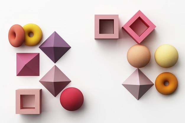 Ensemble de forme géométrique réaliste colorée avec texture de tissu sur le rendu 3d blanc
