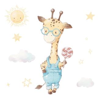 Ensemble de girafe de dessin animé mignon. illustration à l'aquarelle
