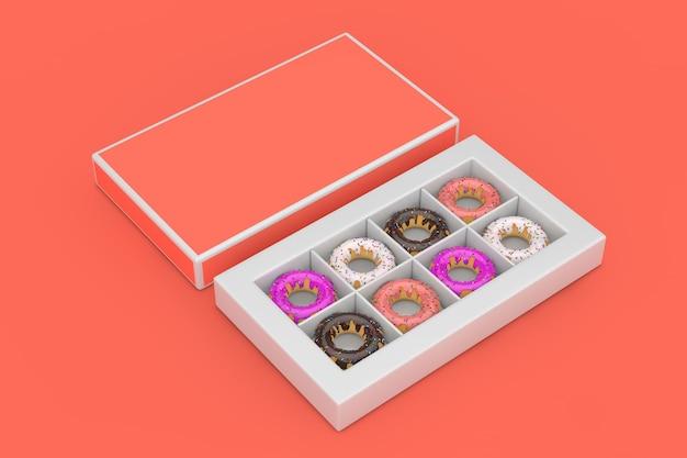 Ensemble de gros beignets glacés dans une boîte en papier rose avec un espace libre pour votre conception sur fond rose. rendu 3d