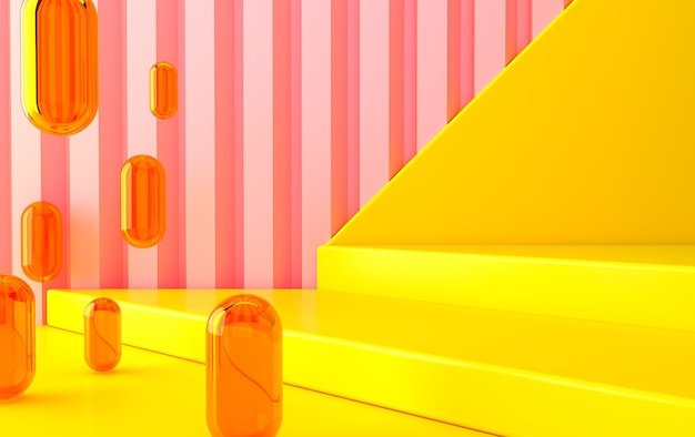 Ensemble de groupe de forme géométrique abstraite de couleur, fond abstrait minimal, rendu 3d, scène avec des formes géométriques