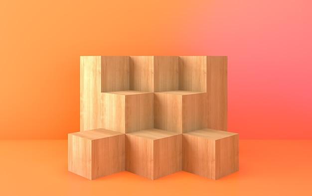 Ensemble de groupe de forme géométrique abstraite, fond abstrait minimal, rendu 3d, scène avec des formes géométriques