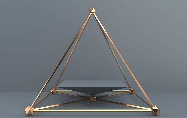 Ensemble de groupe de forme géométrique abstraite, fond gris, cage dorée, rendu 3d, scène avec des formes géométriques, piédestal carré à l'intérieur de la pyramide d'or