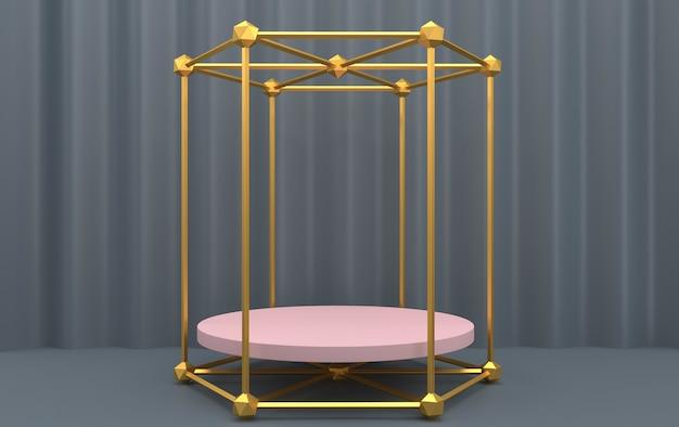 Ensemble de groupe de forme géométrique abstraite, fond gris, cage dorée, rendu 3d, scène avec des formes géométriques, piédestal rose rond à l'intérieur du cadre hexagonal or, rideau sur le fond